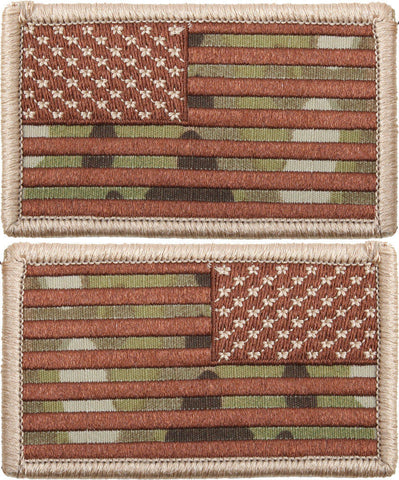 Military Tactical Multicam American Flag Patch with Velcro Backing