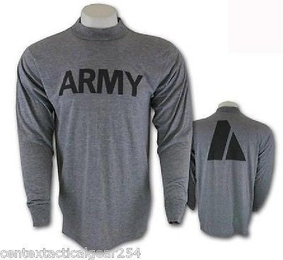 "US Army Grey IPFU Physical Fitness PT Shirt Long Sleeve Medium ""NWT"""