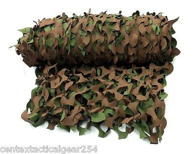 Woodland Green/Brown Camouflage Netting 8' x 20' Vehicle/Boat Concealment Blinds