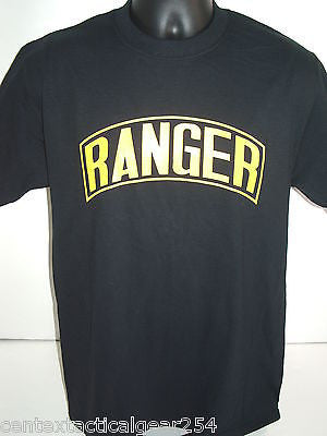 Black US Army Ranger Tab T-Shirt w/ Yellow Imprint Front Logo Cotton Tees T's