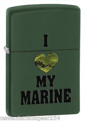 "Genuine Zippo Lighter United States Marine Corps USMC Marines ""I Love My Marine"""
