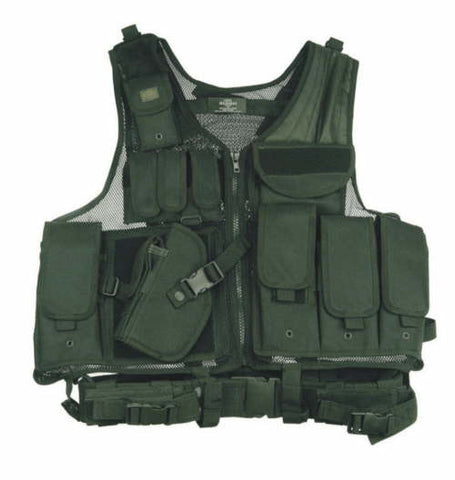 Black Left Handed Shooter Cross Draw Vest with Ammo Pouches & Pistol Holster