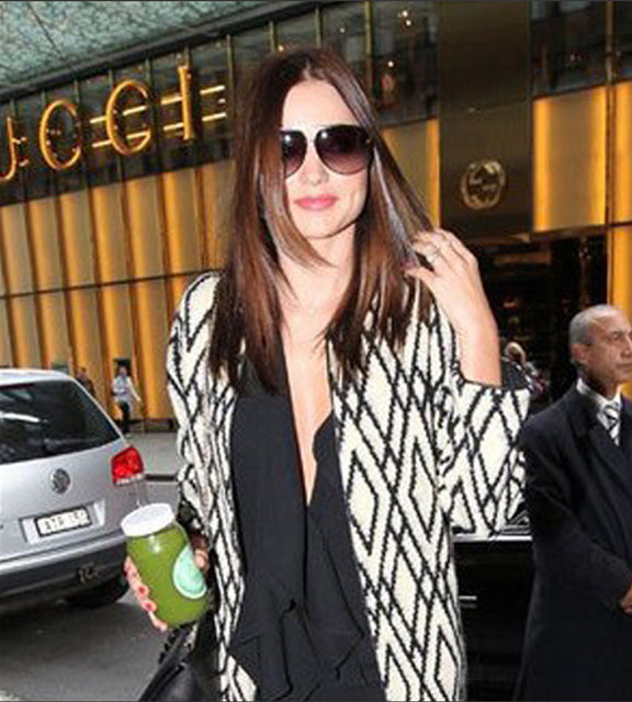 Miranda Kerr drinking Lucky You Cleanse Juice.
