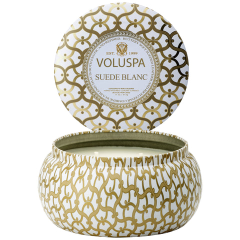 Suede Blanc 2 wick Maison Metallo Candle