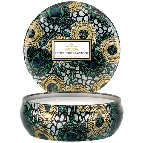 French Cade & Lavender 3 Wick Candle in Decorative Tin