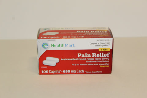 Pain Relief (generic for Tylenol) 100 caps, 650 mg ea