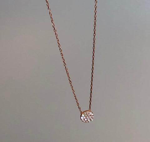 Pave CZ Round Disc Necklace - small