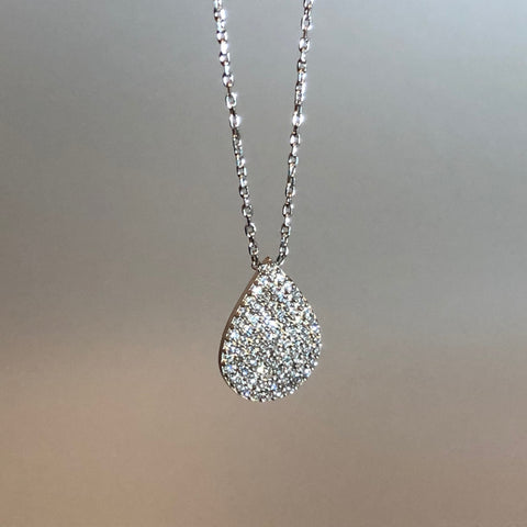 Pave CZ Teardrop Necklace Large