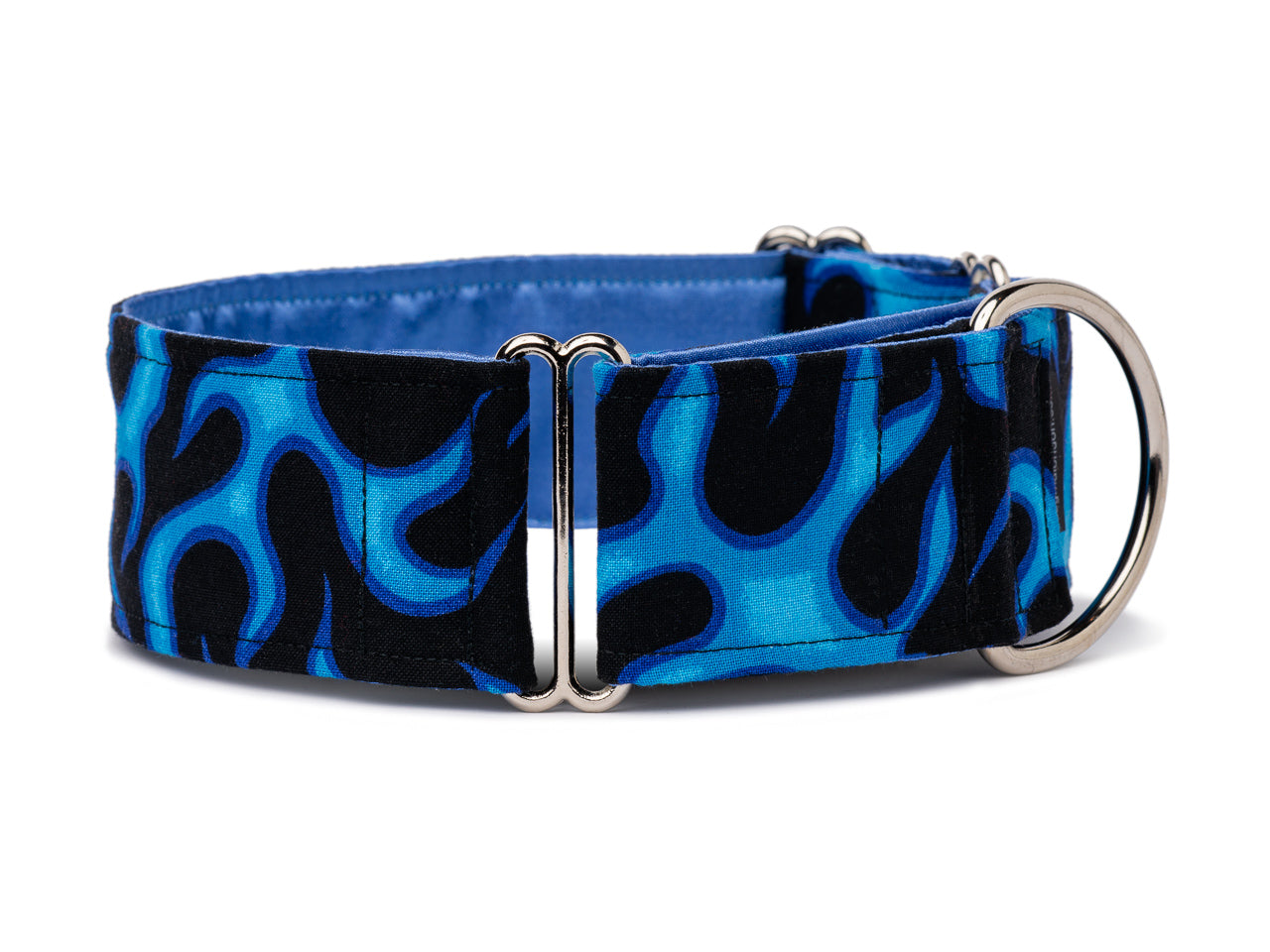 Sizzling blue flames on black will highlight your pup's bright personality and feisty attitude!
