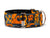 Edgy black and orange skulls and bones collar make the perfect fashion statement for that four-legged tuff guy or gal.