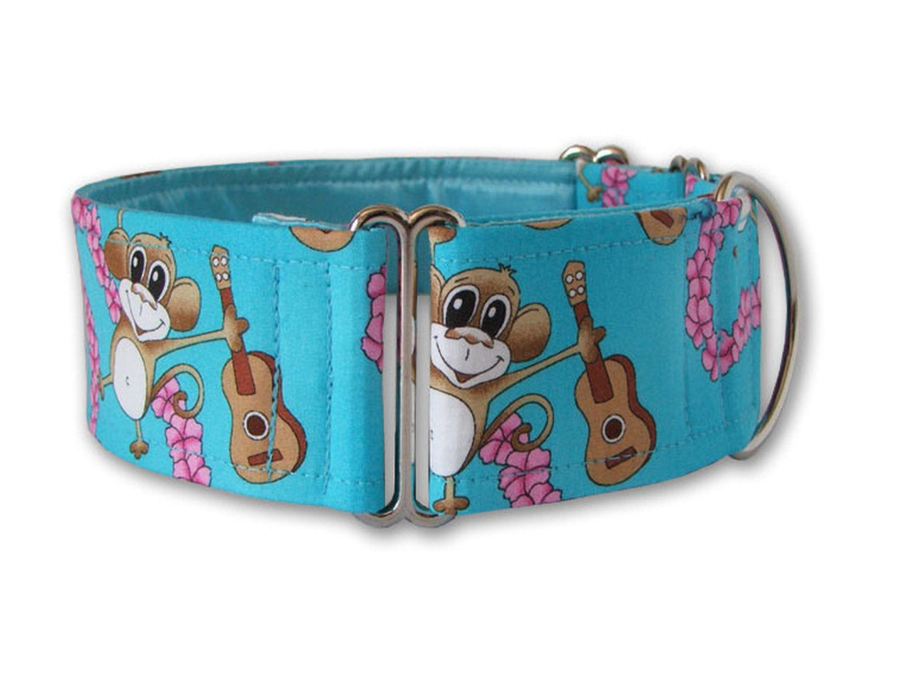 The cheerful ukulele-playing chimp on this bright blue collar will help your pup get his aloha on!