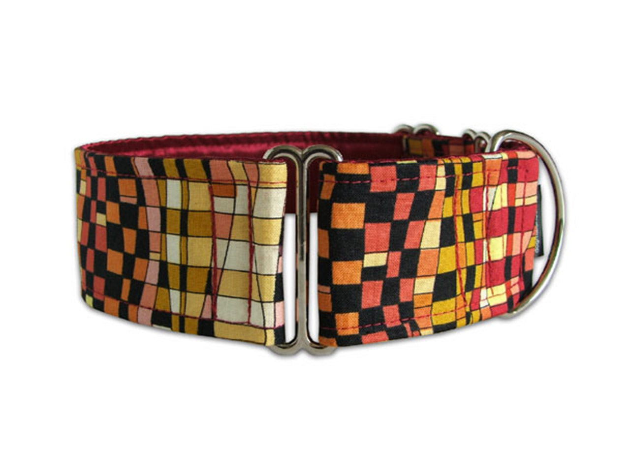 Funky check pattern in shades of red and black is cool for any pup with a bit of attitude!