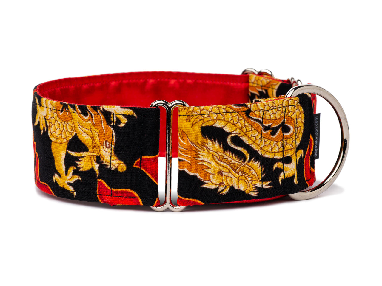 Classic Chinese dragons in gold breathe red flames across this cool black collar that any stylish pup will love!