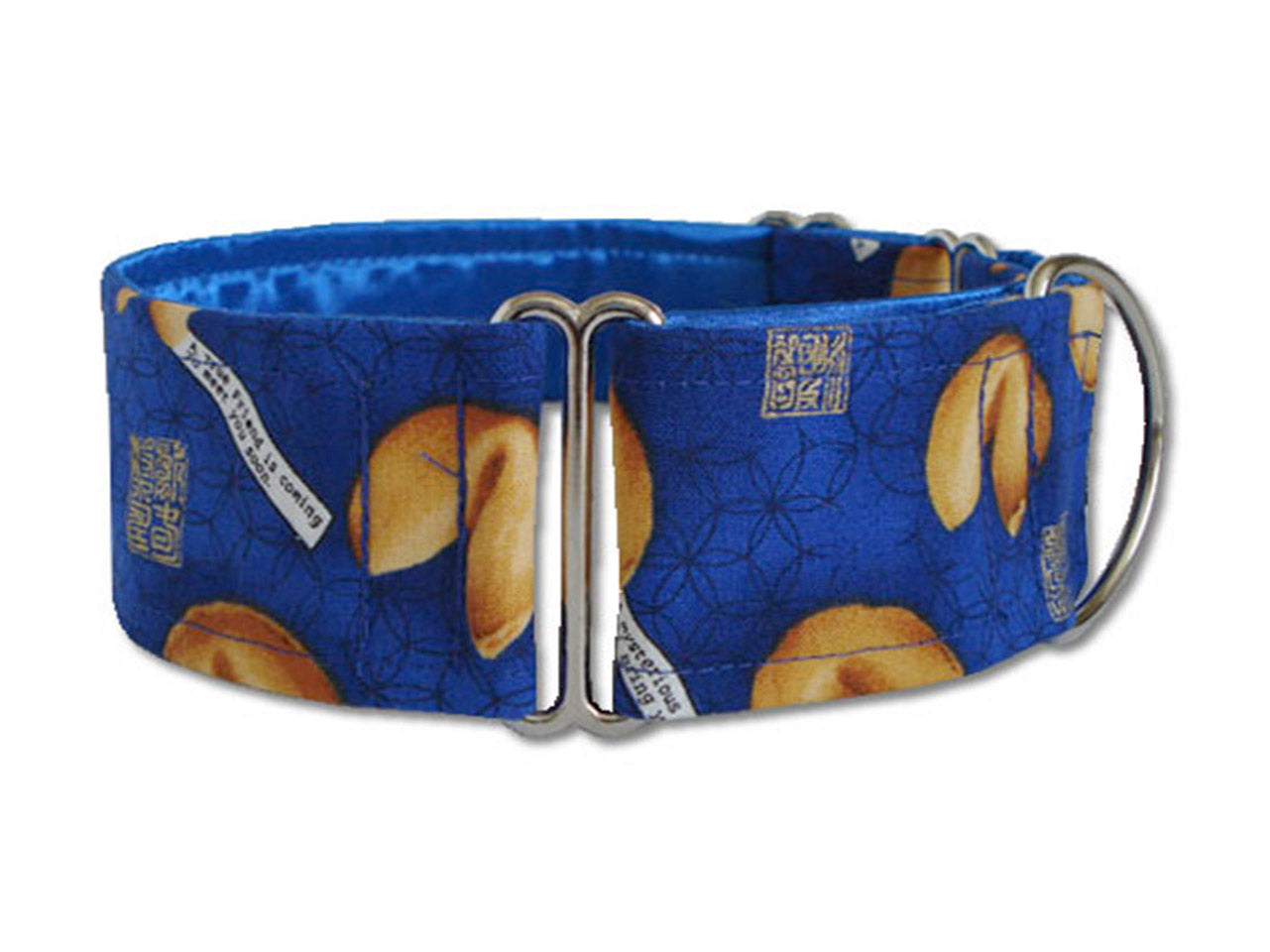 The golden fortune cookies on this bright blue collar say your pooch is one lucky dog!