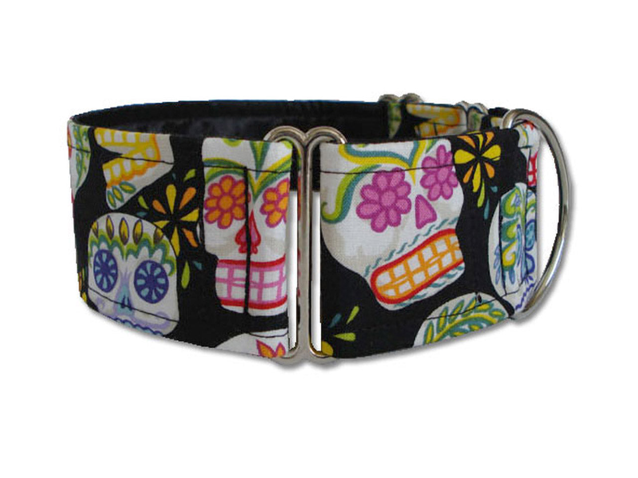 Colorful sugar skulls on black are the perfect accessory for Dia de los Muertos or any day your pooch wants to show some style!