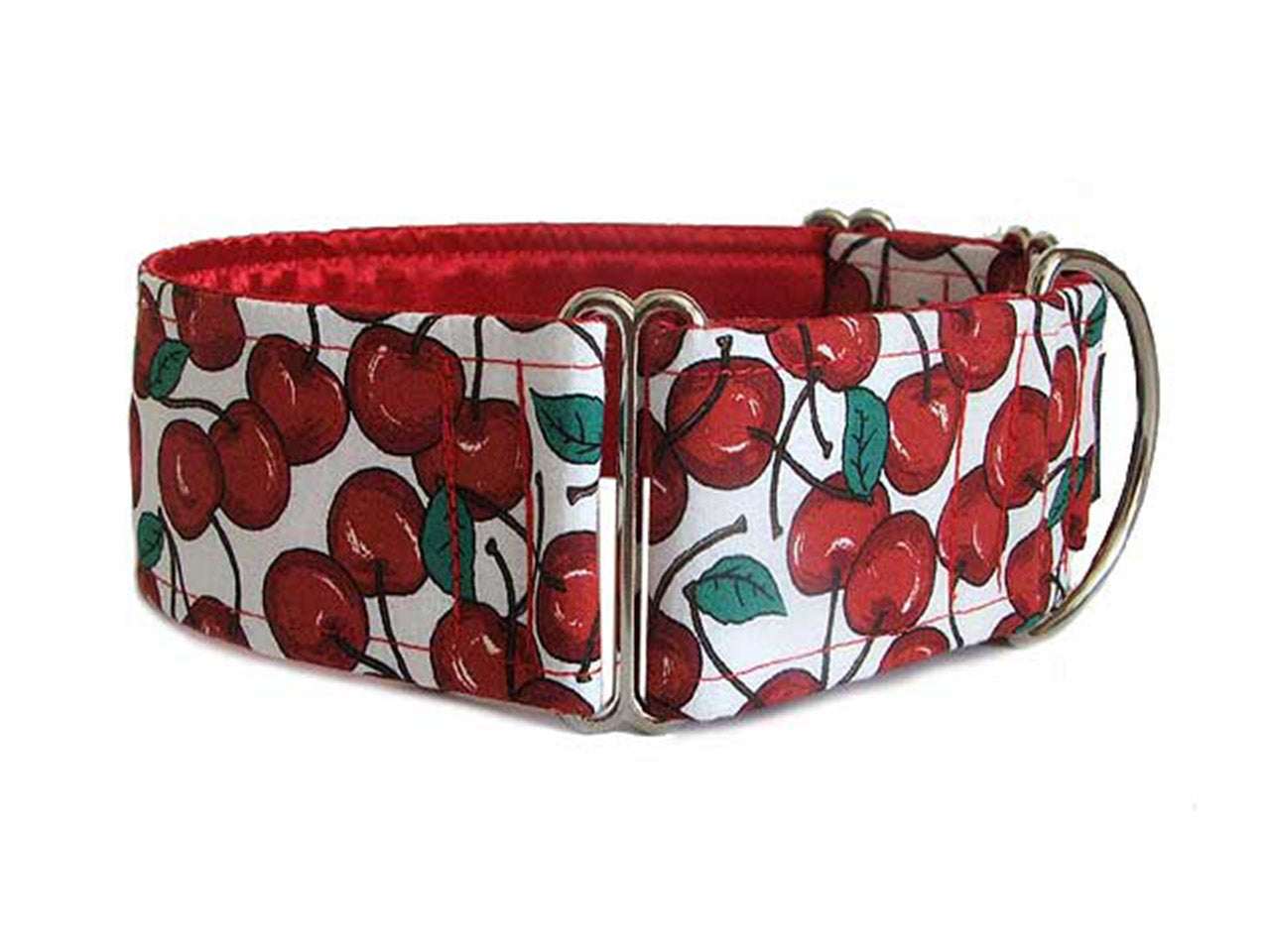 Bright red cherries add a dash of pizzazz to any pup's wardrobe!