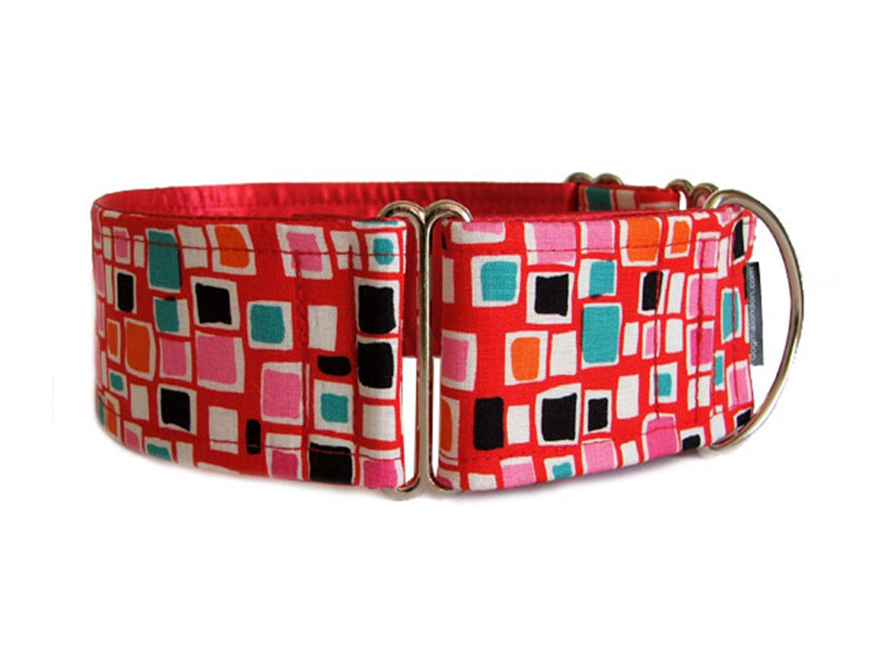 Pops of color on bright red make a snazzy accessory for any fashion-forward hound!