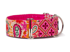 Your pup will be ready to party wearing these paisley patterns in cheerful shades of pink and orange!