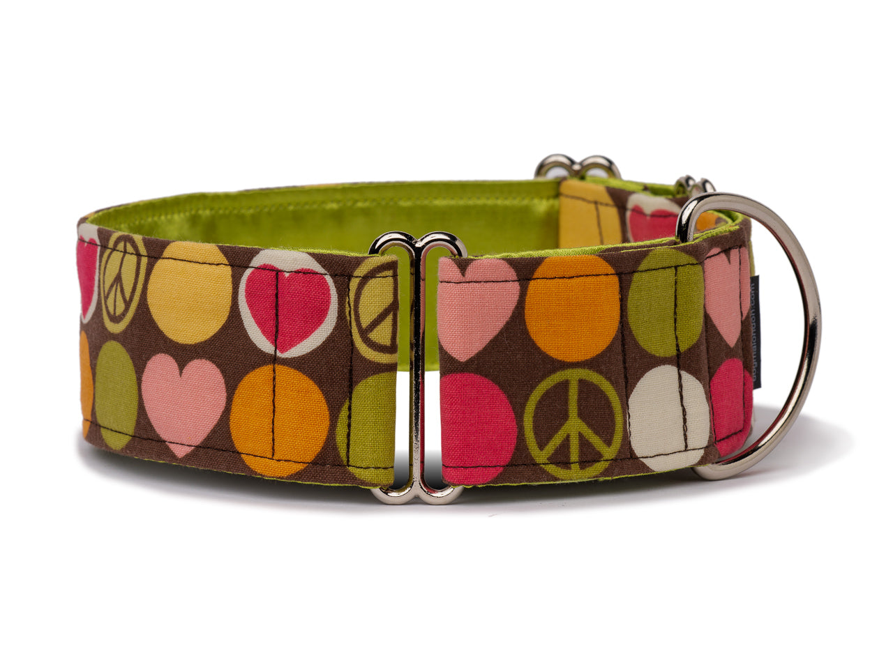 Mellow dots, hearts, and peace signs on warm brown are a groovy accessory for the peace-loving feel-good hound!