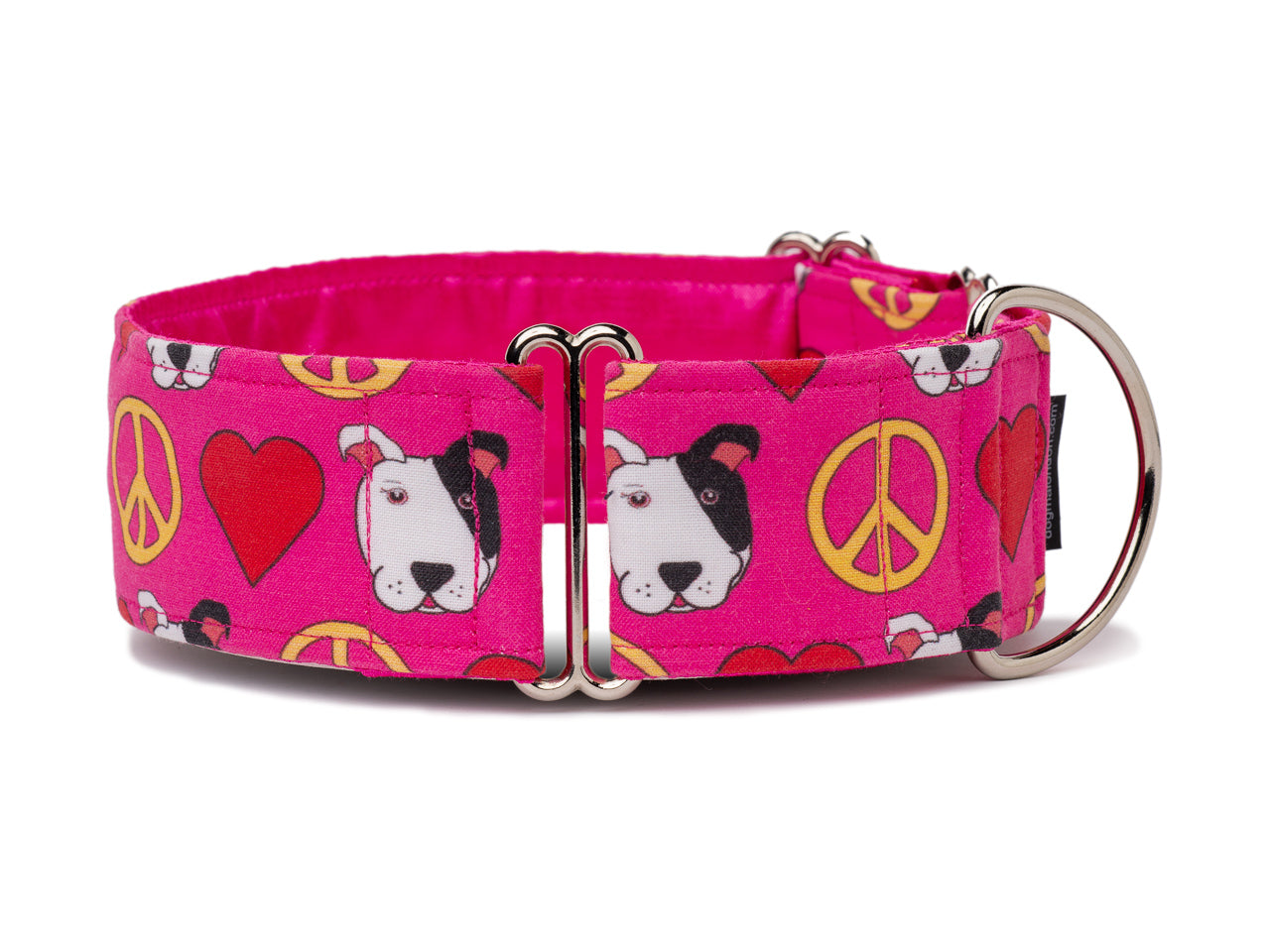 Your pooch can spread joy wherever he or she goes in this happy pink collar with peace symbols, hearts, and cute puppy faces!