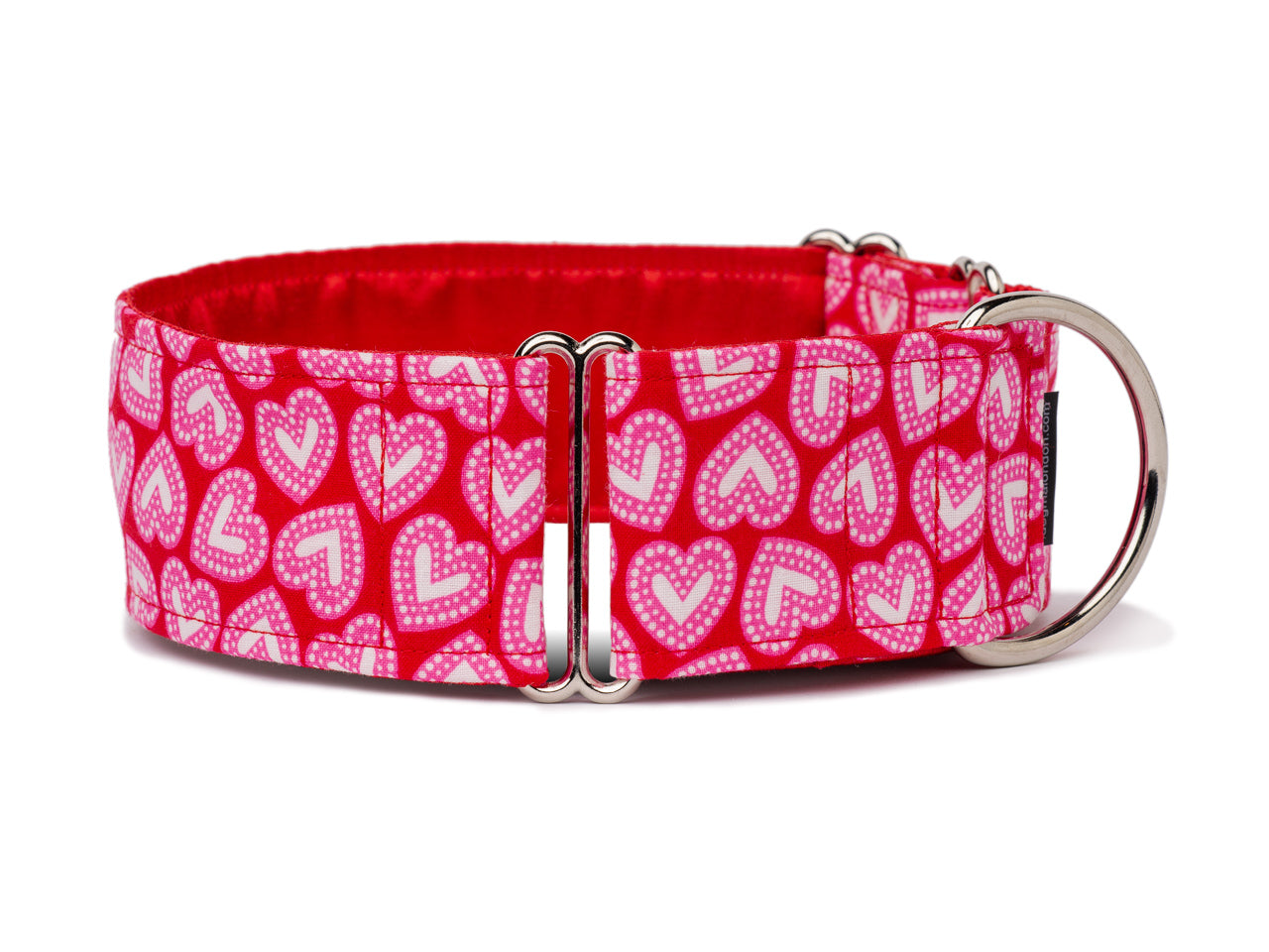 Pretty pink and white hearts on red are perfect for Valentine's Day or any time you want to show your pooch some love!