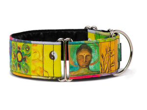 Colorful Buddhist images make Satori the perfect collar for the enlightened pup!