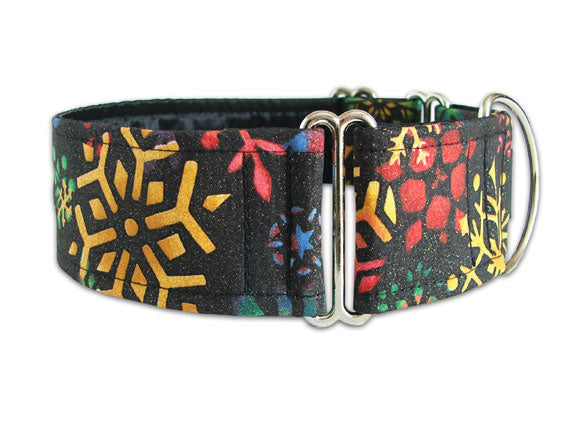 Cool and colorful snowflakes on black make this the perfect winter accessory for the stylish pooch!