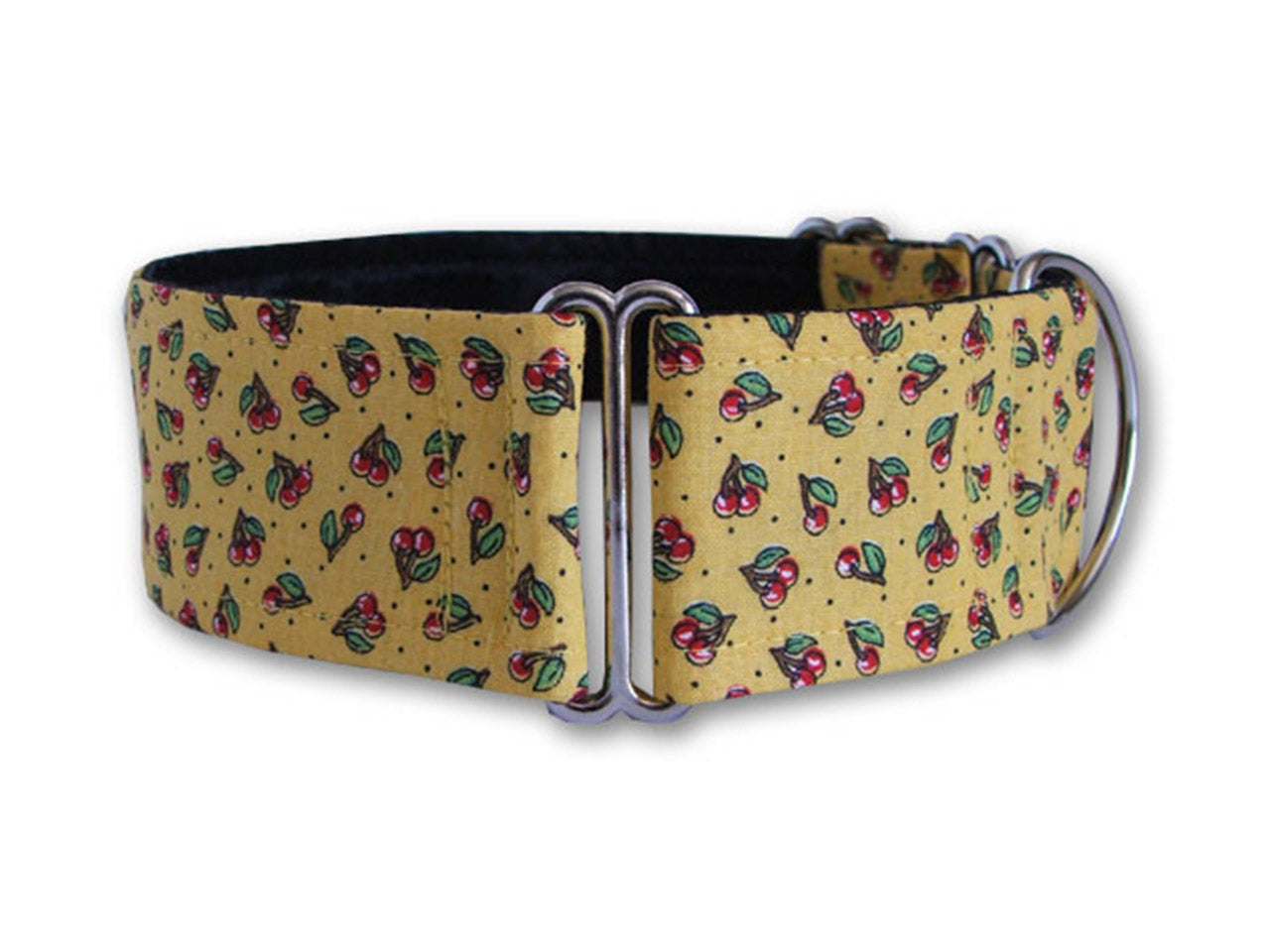 Petite red cherries sweeten up this sunny yellow collar, making a cheerful accessory for any stylish pup!