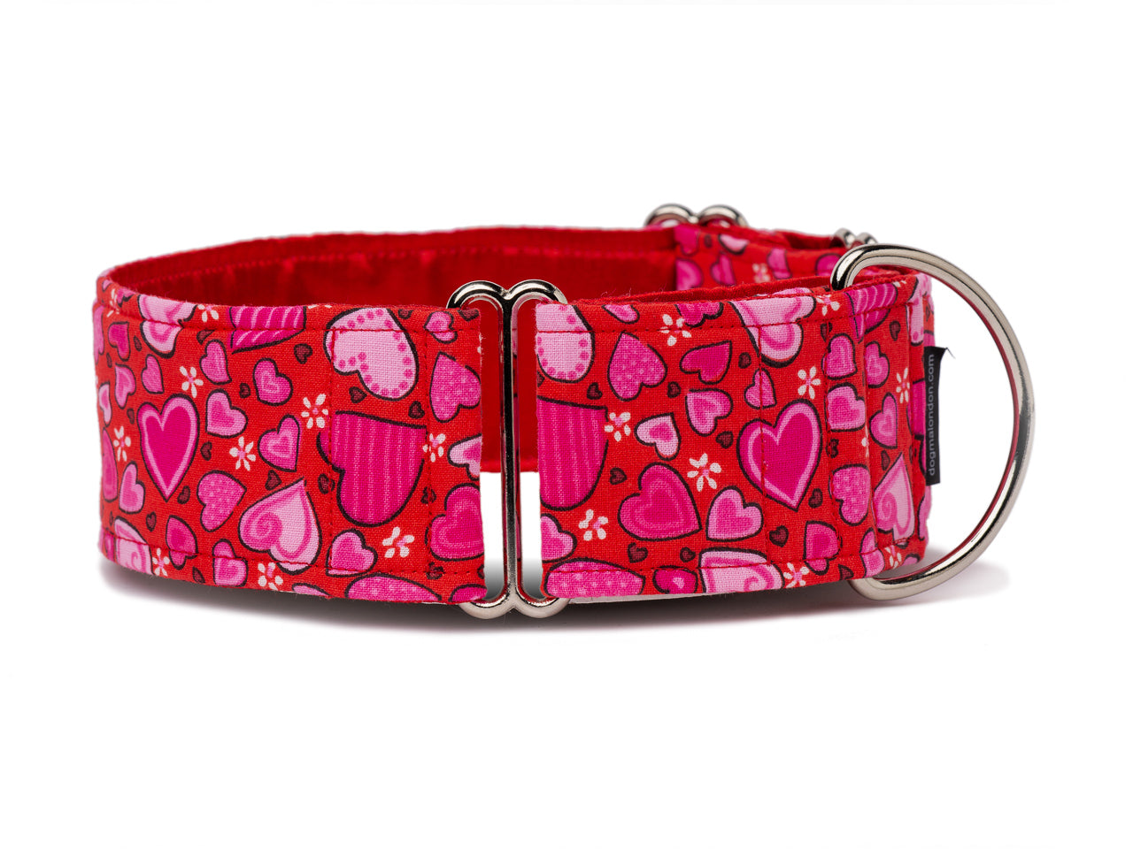 "Show your pooch some love with a shower of pretty pink hearts. Perfect for Valentine's Day or any day you want to say ""I love you!"""