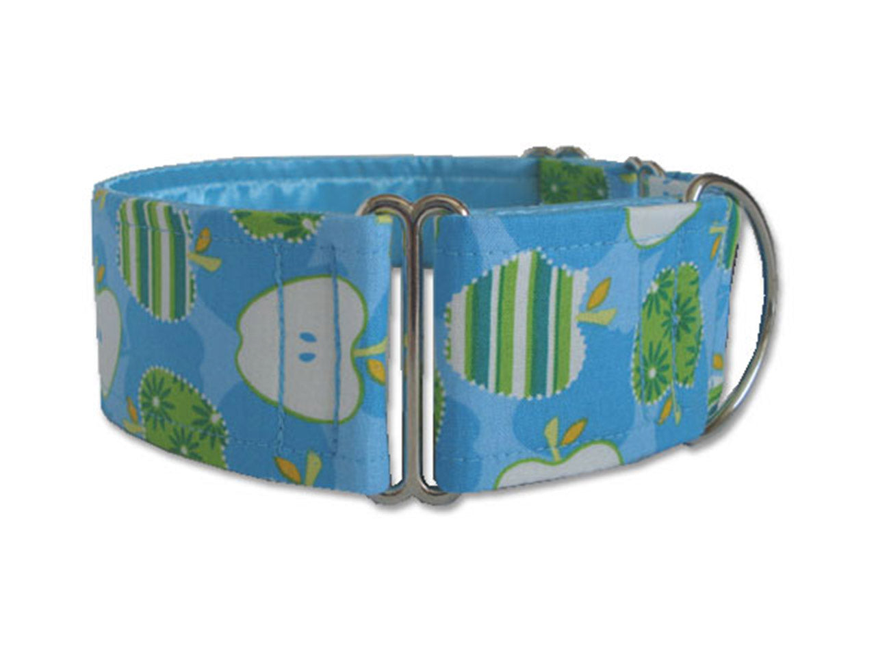 Cheerful apples in green stripes on pretty blue will put a spring in your pup's step any time of the year!