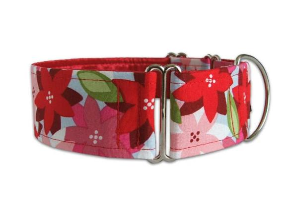 Red and pink poinsettia flowers are perfect for the sophisticated holiday hound!