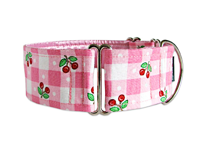 Super sweet pink checks accented with bright red cherries make the perfect accessory for your four-legged girly-girl!