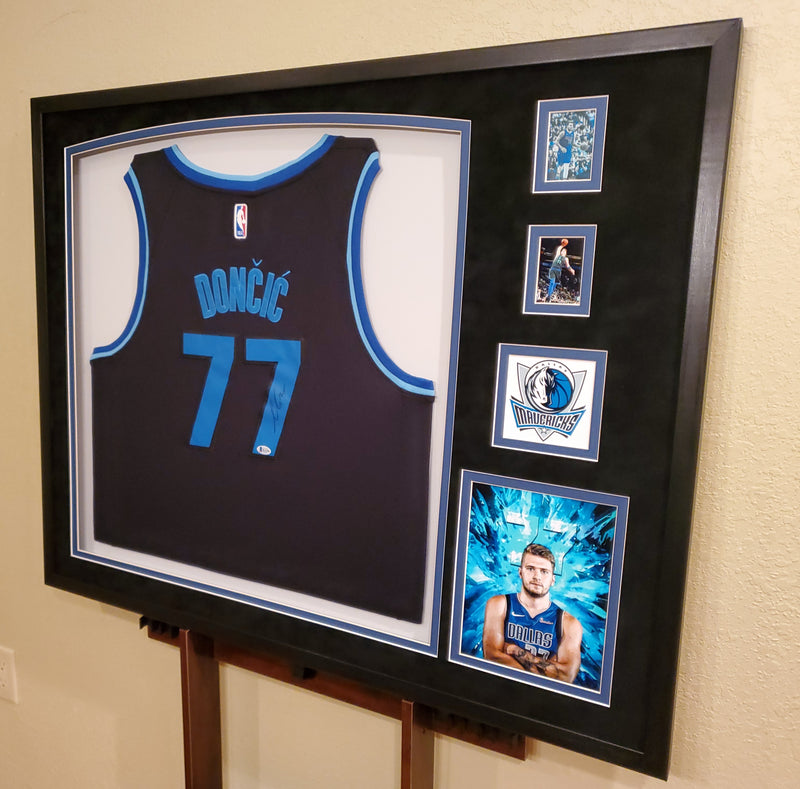 Luka Doncic autographed framed Dallas Mavericks jersey