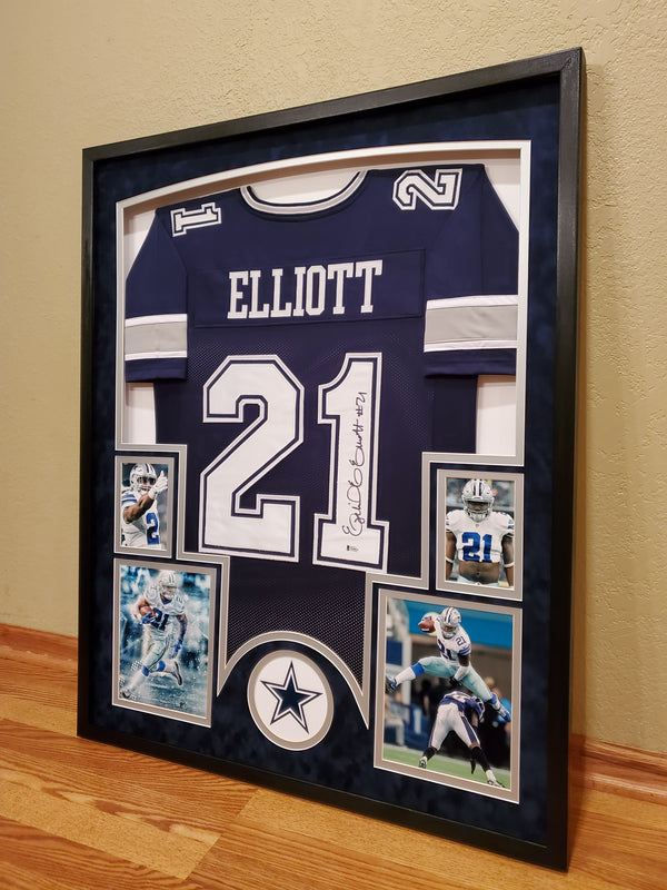 Ezekiel Elliott autographed framed dallas cowboys jersey