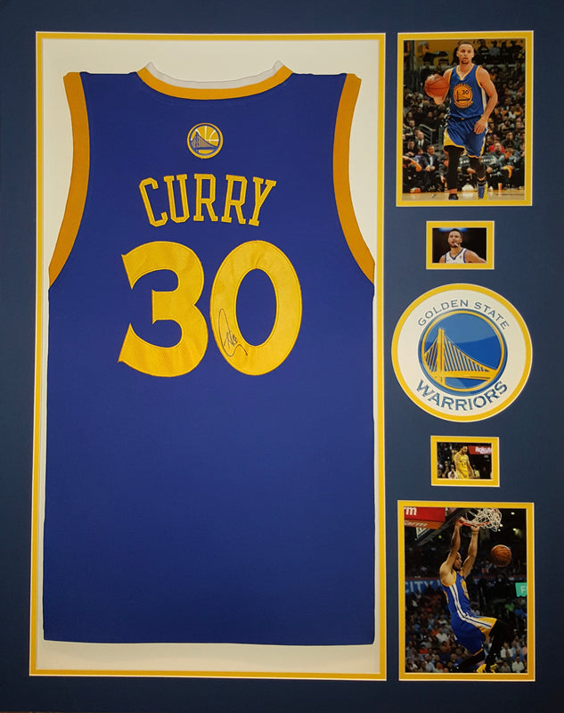 Stephen Curry autographed framed Golden State Warriors jersey