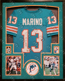DAN MARINO AUTOGRAPHED SIGNED CUSTOM MIAMI DOLPHINS JERSEY FRAMED, SUEDE, MARINO HOLOGRAM