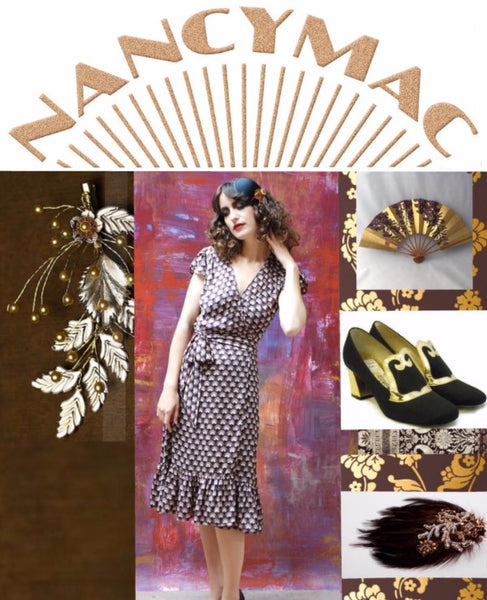 Forever frocks - wrap dress in chocolate and sepia fan print