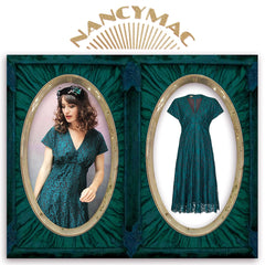 Valeria dress in emerald embroidered flower lace