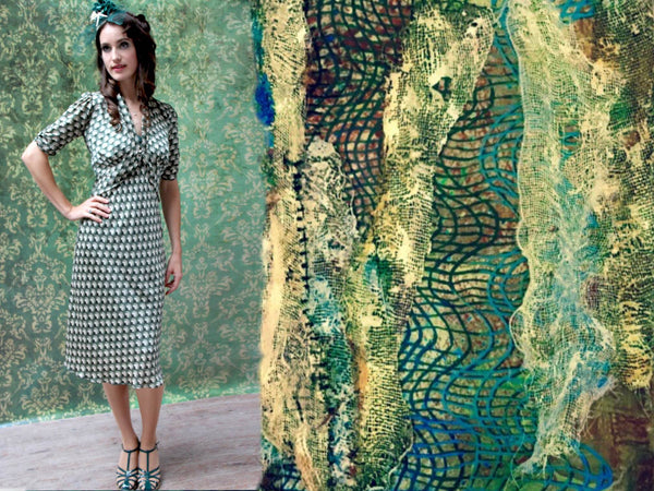 Friday's Catch - Sable dress in malachite fan print image