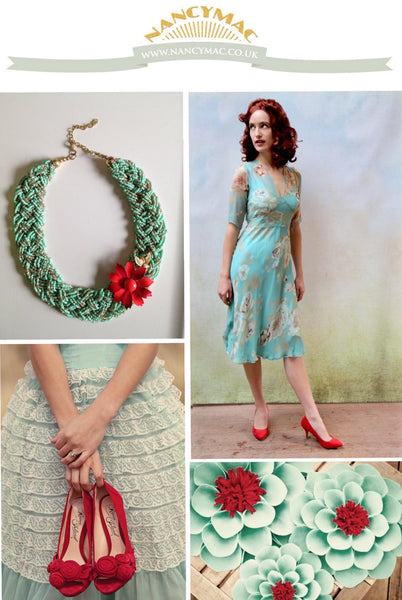 Mae dress in aqua rose