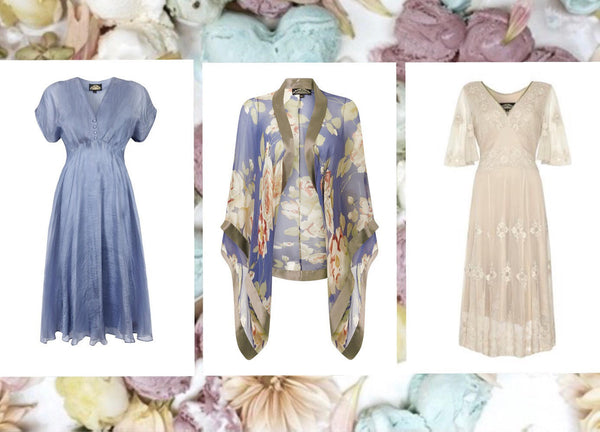 Dresses and shrug in bluebell silk georgette