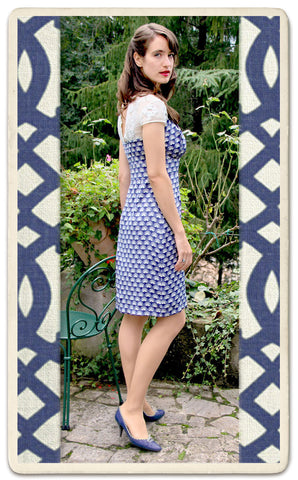 Alessia dress in navy fan - location shot