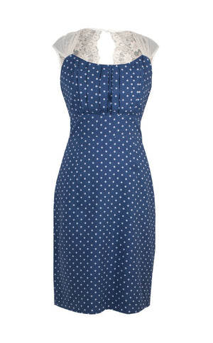 Alessia dress in blue polka dot silk cotton