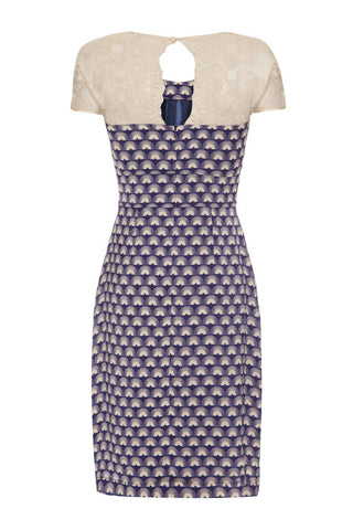 Alessia dress in French navy fan print crepe
