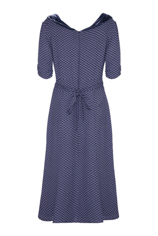 Annabelle Dress in Wedgwood Blue Fan Print Crepe