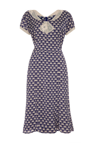 Annabelle dress in navy fan print crepe