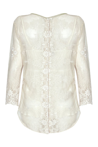 Aria top in ivory embroidered lace - back mannequin