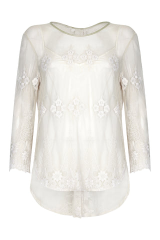 Aria button back top in ivory lace