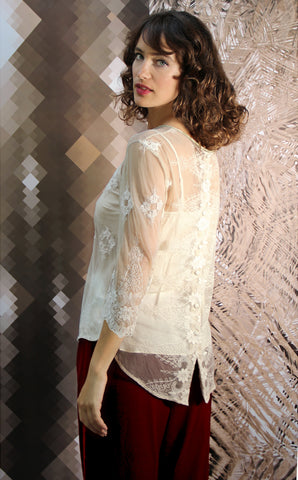 Aria top in ivory embroidered lace - model shot