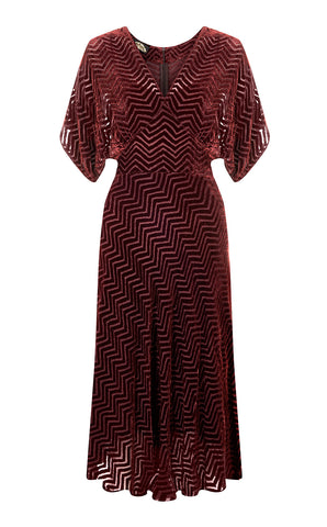 Aurora dress in Deco velvet devoree